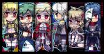 3boys 3girls ahoge armor armored_boots assassin_cross_(ragnarok_online) bangs bare_chest belt belt_buckle bio_lab black_cape black_gloves black_pants black_shirt blonde_hair blue_hair blue_pants boots breastplate brooch brown_dress brown_footwear brown_gloves buckle cape cecil_damon chainmail character_name chestnut_mouth chibi commentary_request copyright_request cross cross_necklace dated dress eremes_guile eyebrows_visible_through_hair eyes_visible_through_hair full_body fur-trimmed_cape fur-trimmed_gloves fur-trimmed_shorts fur_trim garter_straps gauntlets gloves green_hair hair_between_eyes hands_together high_priest_(ragnarok_online) high_wizard_(ragnarok_online) howard_alt-eisen jewelry juliet_sleeves katheryne_keyron kneeling leg_armor long_hair long_sleeves looking_at_viewer looking_away lord_knight_(ragnarok_online) margaretha_solin mask midriff multiple_boys multiple_girls navel necklace one_eye_covered open_mouth pants pauldrons platinum_blonde_hair praying puffy_sleeves ragnarok_online red_cape red_dress red_eyes red_scarf reload9_yohji scarf seyren_windsor shaded_face shirt shoes short_hair short_shorts shorts shoulder_armor signature skull sleeveless smile sniper_(ragnarok_online) standing strap teeth thigh-highs torn_scarf translation_request waist_cape watermark white_hair white_legwear white_shirt whitesmith_(ragnarok_online) yellow_crop_top yellow_gloves