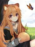 1girl against_tree animal_ears ball bangs bug butterfly closed_mouth clouds cloudy_sky collar day dress eyebrows_visible_through_hair grey_sweater hair_between_eyes highres holding holding_ball insect long_hair long_sleeves looking_at_viewer orange_hair outdoors raccoon_ears raccoon_girl raphtalia red_eyes ribbed_sweater sei_(pixiv18981446) shiny shiny_hair short_dress short_over_long_sleeves short_sleeves sitting sky sleeves_past_wrists smile solo sweater tate_no_yuusha_no_nariagari tree very_long_hair