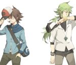 2boys bangle bangs baseball_cap blue_jacket bracelet brown_hair closed_eyes closed_mouth commentary_request cowboy_shot graphite_(medium) green_hair hair_between_eyes hand_in_pocket hat hiyokko_ep holding holding_clothes holding_hat jacket jewelry long_hair long_sleeves male_focus multiple_boys n_(pokemon) necklace orb pants pokemon pokemon_(game) pokemon_bw shirt smile traditional_media white_background white_shirt