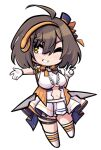 1girl ahoge arm_strap azur_lane baltimore_(azur_lane) baltimore_(muse)_(azur_lane) bangs boots bow braid breasts brown_hair center_frills center_opening chibi clothing_cutout commentary_request eyebrows_visible_through_hair french_braid frills full_body gloves grin hair_between_eyes hat headset idol knee_boots large_breasts looking_to_the_side mini_hat navel navel_cutout official_alternate_costume one_eye_closed orange_bow outstretched_arm pleated_skirt shirt short_hair sidelocks simple_background skirt sleeveless sleeveless_shirt smile solo standing sugoidere thigh_strap under_boob v white_background white_footwear white_gloves white_shirt white_skirt yellow_eyes