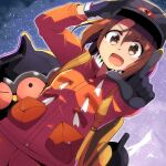 1girl backpack bag bangs black_gloves black_headwear brown_eyes brown_hair claydol commentary_request dynamax_band expedition_uniform eyebrows_visible_through_hair gen_3_pokemon gloria_(pokemon) gloves helmet highres jacket moja_(moja4192) mountain open_mouth orange_jacket outdoors pointing pokemon pokemon_(creature) pokemon_(game) pokemon_swsh snowing tongue