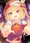 1girl absurdres aoi_(annbi) bandaged_arm bandaged_head bandages bangs blonde_hair blood bloody_bandages blush commentary cravat crystal dark_background fangs flandre_scarlet halloween halloween_costume highres looking_at_viewer midriff nail_polish open_mouth orange_neckwear outstretched_arms red_nails red_shirt shirt short_hair side_ponytail smile solo touhou upper_body wings zombie_pose