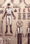 1boy against_wall baseball_bat baseball_cap baseball_uniform black_neckwear bug character_name eyeball food ghost gloves hat insect male_focus meat moth necktie off pants shaded_face shirt sportswear the_batter ticket wall wenny02