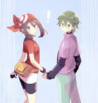 ! 1boy 1girl aqua_eyes bangs bike_shorts blush brown_hair commentary_request drew_(pokemon) eyelashes fanny_pack gloves green_hair green_pants hair_between_eyes looking_at_viewer looking_back may_(pokemon) pants pokemon pokemon_(anime) pokemon_rse_(anime) purple_shirt red_bandana red_shirt shirt short_sleeves suzumi_(fallxalice)
