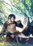 1boy abs arm_wrap bangs black_hair black_pants bowl chest_tattoo cowboy_shot day fate/grand_order fate_(series) green_eyes grin hair_between_eyes hand_up hand_wraps holding holding_bowl jar leaning_back long_hair looking_at_viewer low_ponytail male_focus outdoors pants pectorals ponytail red_neckwear rrr_(reason) shirtless sitting smile solo tattoo toned toned_male tree very_long_hair yan_qing_(fate/grand_order)