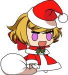 bianca_winterborn blonde_hair chibi christmas happy hat meme padoru santa_costume santa_hat smile the_black_dragon vampire violet_eyes ying_li