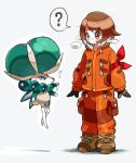 1girl ? arm_ribbon bangs blush boots brown_eyes brown_footwear brown_gloves brown_hair calyrex closed_mouth commentary_request expedition_uniform eye_contact eyelashes flying_sweatdrops fur_trim gen_8_pokemon gloria_(pokemon) gloves hyou_(hyouga617) jacket legendary_pokemon long_sleeves looking_at_another motion_lines nose_blush orange_jacket orange_pants pokemon pokemon_(creature) pokemon_(game) pokemon_swsh red_ribbon ribbon short_hair spoken_question_mark standing