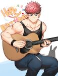 1boy abs acoustic_guitar animal_ears bara bare_arms bare_shoulders black_hair black_tank_top blue_eyes bulge chest collarbone denim facial_hair gondom guitar happy_birthday highres instrument jeans male_focus multicolored_hair muscle original pants pink_hair rabbit_ears short_hair sideburns sitting solo tank_top two-tone_hair