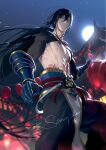 1boy abs architecture arm_wrap bangs black_hair black_pants blurry blurry_background chest chest_tattoo closed_mouth east_asian_architecture fate/grand_order fate_(series) feet_out_of_frame full_moon gauntlets green_eyes hair_between_eyes highres lantern long_hair looking_at_viewer low_ponytail male_focus moon night outdoors pagoda pants paper_lantern pectorals ponytail red_neckwear rrr_(reason) sample shirtless solo standing tattoo toned toned_male very_long_hair yan_qing_(fate/grand_order)