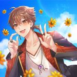 1boy :d bangs black_jacket blue_sky blurry blurry_foreground blush brown_eyes brown_hair clouds collarbone day depth_of_field eyebrows_visible_through_hair fang fingernails flower fushimi_gaku hair_between_eyes hands_up jacket jewelry long_fingernails long_hair looking_at_viewer low_ponytail male_focus mole mole_under_eye nijisanji open_clothes open_jacket open_mouth outdoors ponytail ring sharp_fingernails shikino_yuki shirt sky smile solo upper_body v virtual_youtuber white_shirt yellow_flower