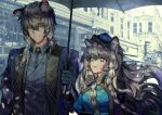 1boy 1girl a0lp animal_ear_fluff animal_ears arknights bangs black_gloves blue_headwear braid brother_and_sister building commentary eyebrows_visible_through_hair gloves grey_eyes grey_jacket hair_between_eyes holding holding_umbrella jacket leopard_ears long_hair long_sleeves looking_at_another official_alternate_costume open_mouth pramanix_(arknights) siblings silver_hair silverash_(arknights) smile twin_braids umbrella upper_body