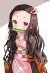 1girl absurdres bamboo bangs bit_gag black_hair blush brown_hair commentary_request cowboy_shot forehead gag gradient_hair hair_ribbon highres japanese_clothes kamado_nezuko kimetsu_no_yaiba kimono long_hair long_sleeves looking_at_viewer mouth_hold multicolored_hair obi open_clothes pink_eyes pink_kimono pink_ribbon ribbon sash solo two-tone_hair zeroillya