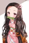 1girl absurdres bamboo bangs bit_gag black_hair blush brown_hair commentary_request cowboy_shot forehead gag gradient_hair hair_ribbon highres japanese_clothes kamado_nezuko kimetsu_no_yaiba kimono long_hair long_sleeves looking_at_viewer mouth_hold multicolored_hair obi open_clothes pink_eyes pink_kimono pink_ribbon revision ribbon sash solo two-tone_hair zeroillya