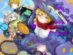 absurdres eyes genshin_impact glasses halloween halloween_costume heal52 highres lumine_(genshin_impact) paimon_(genshin_impact) pixel_art slime