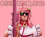 agito666 ahoge arnold_schwarzenegger bangs bare_shoulders bell english_commentary english_text glowing glowing_eye gun hair_bell hair_ornament hand_up highres holding holding_gun holding_weapon hololive one_side_up parody pink_background pink_hair red_ribbon ribbon sakura_miko shiny shiny_hair sleeveless solo sunglasses t-800 terminator upper_body virtual_youtuber weapon x_hair_ornament