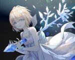 1girl black_background blonde_hair blue_eyes bracelet copyright_name copyright_request dress highres ice jewelry looking_at_viewer physics_point short_hair simple_background white_dress