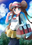 1girl absurdres bag bangs black_legwear blue_eyes blush breasts brown_hair closed_mouth clouds commentary_request day double_bun eyelashes highres holding holding_poke_ball legwear_under_shorts lens_flare long_hair miyama-san outdoors pantyhose poke_ball poke_ball_(basic) pokemon pokemon_(game) pokemon_bw2 raglan_sleeves rosa_(pokemon) shirt short_shorts shorts sidelocks sky sleeves_past_elbows smile solo twintails visor_cap yellow_shorts