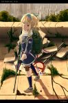 1girl artist_name backpack bag bandana blonde_hair bow character_name cityscape copyright_name girls_frontline gun hair_bow highres holding holding_gun holding_weapon kaj1l military military_uniform mismatched_legwear ponytail red_eyes rifle ruins russian_flag scope short_hair sniper_rifle solo sv-98 sv-98_(girls_frontline) thigh_pouch uniform weapon