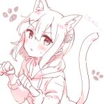 1girl absurdres animal_ears bangs blush cat_ears cat_girl cat_tail drawstring eyebrows_visible_through_hair hair_between_eyes hair_ornament hands_up highres hood hood_down hoodie kemonomimi_mode long_sleeves looking_at_viewer machikado_mazoku monochrome parted_lips paw_pose simple_background solo sorimachi-doufu sweat tail translation_request white_background x_hair_ornament yoshida_yuuko_(machikado_mazoku)