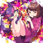 1girl :> absurdres ahoge bangs bike_shorts blush_stickers bob_cut brown_hair closed_mouth collared_dress commentary_request dress dynamax_band eyebrows_visible_through_hair eyelashes gen_5_pokemon gloria_(pokemon) hands_together highres looking_to_the_side pink_dress plaid plaid_legwear pokemon pokemon_(creature) pokemon_(game) pokemon_swsh pon_yui purple_legwear purrloin short_hair sleeves_past_elbows smile socks yellow_eyes
