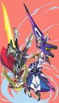 2girls absurdres blonde_hair brown_hair energy_sword exocet fate_testarossa highres holding holding_sword holding_weapon huge_weapon looking_to_the_side lyrical_nanoha magical_girl multiple_girls open_mouth red_eyes sword takamachi_nanoha twintails upside-down violet_eyes weapon