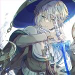 1boy blonde_hair cape copyright_request elf green_eyes hat highres holding holding_sword holding_weapon ice long_sleeves looking_at_viewer physics_point pointy_ears short_hair solo sword upper_body weapon white_background