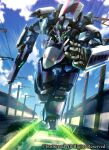 cardfight!!_vanguard green_eyes gun holding holding_gun holding_weapon mecha no_humans official_art open_hand railroad_tracks running sakusakusakurai science_fiction solo trading_card weapon