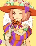 1girl alternate_costume atlus brown_hair cute halloween halloween_costume hat heart highres jivke looking_at_viewer md5_mismatch megami_tensei okumura_haru one_eye_closed persona persona_5 pumpkin sega shin_megami_tensei sparkle tongue tongue_out