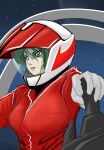 1girl alien breasts canopy choujikuu_yousai_macross cockpit green_eyes green_hair helmet highres lips macross macross:_do_you_remember_love? mecha millia_jenius pilot pilot_suit science_fiction serious sketch space starry_background u.n._spacy upper_body user_vdwp3553 variable_fighter vf-1