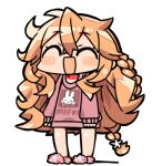 1girl :d ^_^ bangs blush_stickers braid brown_hair brown_sweater chibi closed_eyes clothes_writing eyebrows_visible_through_hair flower full_body hair_between_eyes hair_flower hair_ornament kanikama long_hair long_sleeves lowres nijisanji open_mouth otogibara_era pink_footwear shadow sleeves_past_wrists slippers smile solo standing sweater very_long_hair virtual_youtuber white_background white_flower