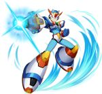 1boy android arm_cannon capcom clenched_hand clenched_teeth full_body green_eyes helmet highres male_focus mizuno_keisuke official_art rockman rockman_x rockman_x_dive serious solo teeth transparent_background weapon x_(rockman)