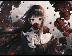 1girl black_hair blush bow covering_mouth daby eyebrows_visible_through_hair flower hair_bow holding holding_flower long_hair long_sleeves looking_at_viewer original red_flower red_rose rose solo very_long_hair white_bow