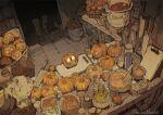 1other artist_name basket bowl bucket carton commentary cutting_board demizu_posuka flask halloween jack-o'-lantern kitchen knife muted_color original out_of_frame pot shelf spoon table walking