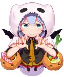 1girl abmayo bangs bat_wings black_footwear black_neckwear black_ribbon black_shirt blue_hair blush candy commentary_request fake_wings fingernails food frills from_above ghost_costume halloween_costume hatsune_miku highres hood hood_up long_hair looking_at_viewer nail_polish necktie orange_nails orange_neckwear orange_skirt red_nails ribbon shirt simple_background skirt smile solo tie_clip twintails vocaloid white_background wings