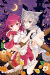 2girls ahoge alternate_costume animal_ears carrying chiwa_(chiwawanwan1206) crescent_moon grey_hair highres magia_record:_mahou_shoujo_madoka_magica_gaiden mahou_shoujo_madoka_magica moon multiple_girls princess_carry purple_hair shinobu_akira_(magia_record) tokiwa_nanaka wolf_ears yuri