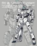 character_name clenched_hands csg glowing gundam gundam_unicorn horns korean_commentary looking_ahead mecha single_horn solo standing unicorn_gundam visor zoom_layer