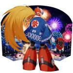 1boy alternate_costume android blonde_hair blue_eyes capcom fan festival fireworks from_behind full_body happi helmet highres holding holding_fan japanese_clothes long_hair long_sleeves looking_back male_focus mizuno_keisuke official_art ponytail rockman rockman_x rockman_x_dive smile solo standing very_long_hair zero_(rockman)