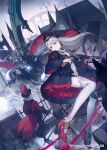 1boy 1girl 2others arch black_jacket boots bridge building clouds cloudy_sky coat coattails commentary_request facing_away facing_viewer fog green_hair gun hat headpiece high_heels highres hihara_you holding holding_gun holding_staff holding_sword holding_weapon hooded_robe jacket long_hair long_sleeves looking_to_the_side monster multiple_others original outdoors pale_skin parted_lips red_coat red_eyes red_headwear rifle robe shirt sidelocks silver_hair sky solo_focus staff steampunk steeple sword thigh-highs top_hat weapon white_legwear white_shirt wide_sleeves wings