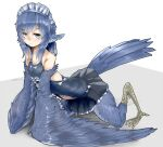 1girl all_fours alternate_costume animal_ears bird_ears bird_legs bird_tail bird_wings blue_feathers blue_hair blue_wings digitigrade enmaided eyebrows_visible_through_hair feathered_wings feathers grey_eyes harpy head_feathers maid maid_headdress miura_(rnd.jpg) monster_girl original rnd.jpg solo talons twitter_username winged_arms wings