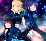 3girls absurdres arm_support blonde_hair blue_hair braid breasts constellation crown_braid earrings green_eyes hair_rings highres jewelry kurosawa_dia long_hair looking_at_viewer love_live! love_live!_school_idol_project love_live!_sunshine!! matsuura_kanan medium_breasts midriff_peek mole mole_under_mouth multiple_girls ohara_mari one_eye_closed ponytail purple_headwear round_teeth smile teeth thighs tsumikiy violet_eyes yellow_eyes
