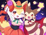 animal_ear_fluff arm_up black_cape blush braixen candy cape commentary_request eyelashes fang food fur furret gen_2_pokemon gen_6_pokemon green_ribbon halloween happy hat highres holding holding_candy holding_food holding_lollipop kemoribon lollipop neck_ribbon one_eye_closed open_mouth orange_headwear paws pokemon pokemon_(creature) red_eyes ribbon star_(symbol) stick tongue witch_hat