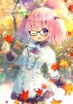 1girl ;d ascot autumn_leaves bangs black-framed_eyewear black_bow black_ribbon blurry blurry_background bow breasts brown_neckwear collared_dress depth_of_field dress eyebrows_visible_through_hair frilled_sleeves frills glasses hair_between_eyes hair_bow hair_ribbon holding holding_leaf kouu_hiyoyo leaf long_sleeves looking_at_viewer maple_leaf one_eye_closed open_mouth original pink_hair ribbon small_breasts smile solo tree twintails violet_eyes white_dress