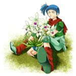 1girl :d blue_hair closed_eyes facing_viewer flower grass green_footwear hands_together open_mouth outdoors pin_karo pouch rag_uralo red_legwear red_scarf scarf sentou_mecha_xabungle short_hair short_ponytail short_sleeves side_ponytail sitting smile solo white_background wristband