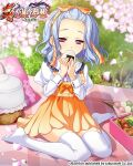 1girl blue_hair cherry_blossoms dress eating food forehead koihime_musou obentou onigiri orange_dress otogi_yuugi outdoors petals picnic red_eyes ribbon shirt short_dress short_hair sitting solo thigh-highs toutaku white_legwear white_shirt