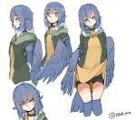 1girl anger_vein animal_ears bike_shorts bird_ears bird_legs bird_tail bird_wings blue_feathers blue_hair blue_wings blush choker dress dress_lift feathered_wings feathers green_jacket grey_eyes harpy head_feathers highres jacket lifted_by_self monster_girl multiple_views open_mouth original rnd.jpg smile winged_arms wings yellow_dress