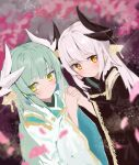 2girls bangs cherry_blossoms fate/grand_order fate_(series) grey_hair highres holding_hands horns japanese_clothes kimono kiyohime_(fate/grand_order) kiyohime_(onmyoji) multicolored multicolored_background multiple_girls seojinhui shiny sparkle white_hair yellow_eyes