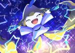 absurdres blurry closed_eyes commentary_request gen_3_pokemon happy highres huge_filesize jirachi mythical_pokemon no_humans open_mouth outstretched_arms pokemon pon_yui solo star_(symbol) tongue