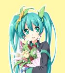 1girl :d aqua_eyes aqua_hair blush bouquet commentary earrings flower hair_between_eyes hatsune_miku hinosita_hikari jewelry long_hair long_image looking_at_viewer open_mouth plant simple_background smile tall_image upper_body vocaloid yellow_background