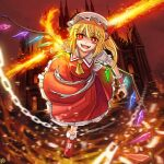 a-xii blonde_hair chain crazy_eyes dress flandre_scarlet flying hat highres holding holding_weapon looking_at_viewer mob_cap open_mouth red_dress red_eyes red_sky scarlet_devil_mansion short_hair sky smile solo sword touhou weapon yellow_neckwear
