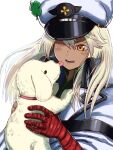 1girl clover dog face_licking four-leaf_clover guilty_gear guilty_gear_strive hat highres licking magehound puppy ramlethal_valentine silver_hair user_amdz8785 yellow_eyes